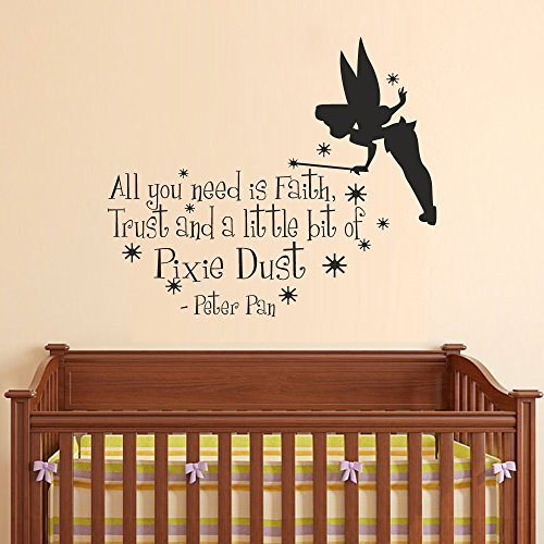 Wall Decal Decor Peter Pan Wall Decal Quotes - All you need is faith trust and pixie dust - Vinyl Lettering Wall Words Graphics Baby Nursery Kids Room(White, 22h x26w) 22h x26w) Bobbit