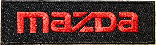 MAZDA Logo Sign Car Truck Racing Patch Iron on Applique Embroidered T shirt Jacket Costume BY SURAPAN (red on black)