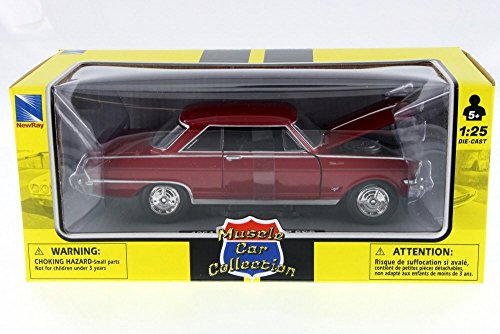 New Ray 1964 Chevy Nova, Red 71823A - 1/25 Scale Diecast Model Toy - Car Diecast Nova