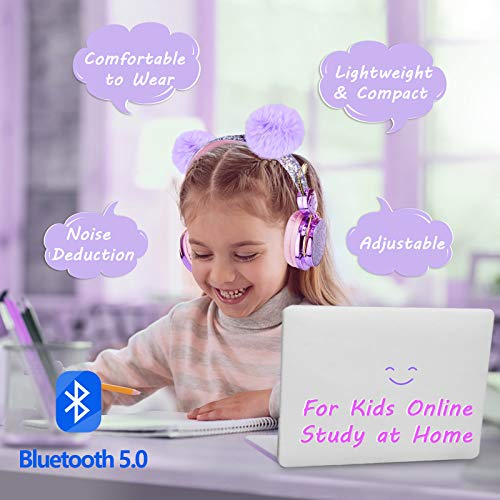 Kids Headphones Wireless POM POM Bear Ear 2021 Upgraded Bluetooth Headset w/Mic Adjustable Headband, Over On Ear Headset…