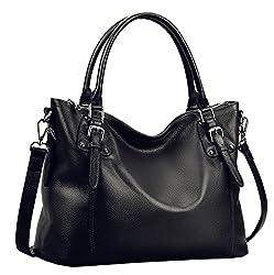 Heshe Women?��s Leather Handbags Shoulder Tote Bag Top Handle Bags Satchel Designer Ladies Purses Cross Body Bag Lblack
