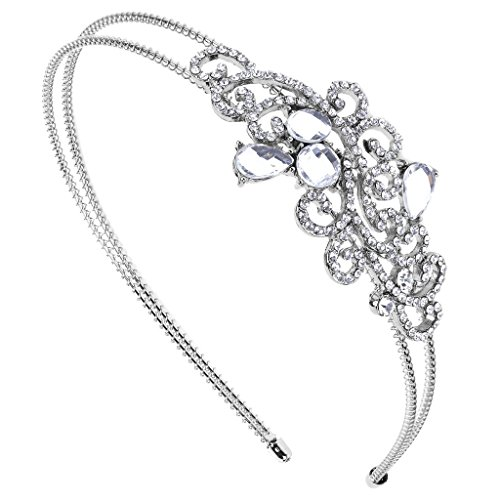 Lux Accessories Elegant Crystal Pave Bridal Bride Wedding Bridesmaid Tear Drop Stretch Headband Head Band