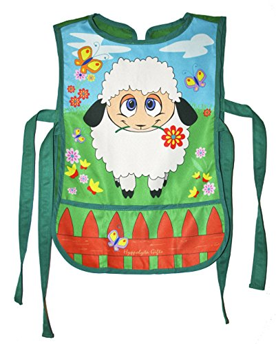 [Polyester Hippolyta Gifts Studio Artist Apron Green Red and Blue Farm Sheep] (Toddler Gardener Costume)