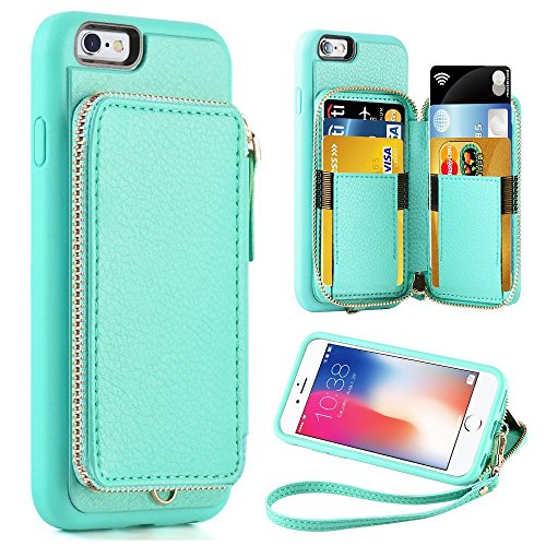 ZVE iPhone 6 Wallet Case, iPhone 6 Case with Card Holder, iPhone 6 Case with Credit Card Holder Slot & Zipper Wallet Money Pockets, Protective Cover for Apple iPhone 6 /6S 4.7 inch - Mint Green