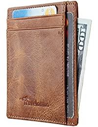 RFID Front Pocket Minimalist Slim Wallet Genuine Leather...