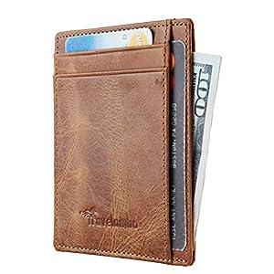 Travelambo RFID Front Pocket Minimalist Slim Wallet Genuine Leather Small Size (vintage brown)