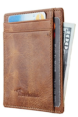 Travelambo RFID Front Pocket Minimalist Slim Wallet Genuine Leather Small Size (vintage brown)
