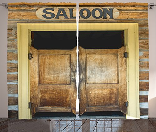 Ambesonne Saloon Decor Collection, Authentic Saloon Doors Of Old Western Building In Montana Ghost Town Image Print, Living Room Bedroom Curtain 2 Panels Set, 108 X 84 Inches, Sienna Cream (Old Western Decor)