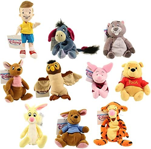 Bean Bags Disney Plush - Winnie The Pooh Set of 10 (Pooh Tigger Roo Eeyore Piglet Kanga +4)