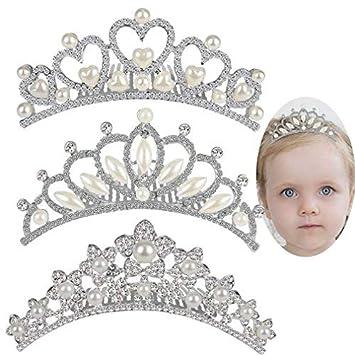 2edbd7de92 ANBALA Rhinestone Crown Hair Comb, 3 Pack Sweet Crystal Tiara Crown  Headbands Princess Hair Accessories
