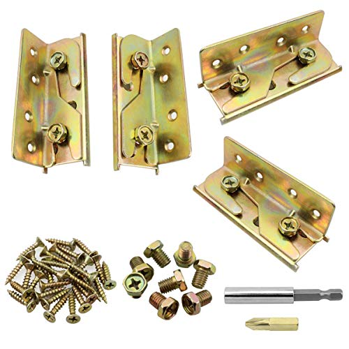 Dreamtop 4 Sets Non-Mortise Bed Rail Brackets Heavy Duty Rust Proof Bed Rail Brackets Hardware Frame Bracket Fittings Fastener (Screws and Magnetic bit Holder Included)