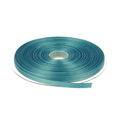 (Topenca Supplies 1/4 Inches x 50 Yards Double Face Solid Grosgrain Ribbon Roll, Turquoise)