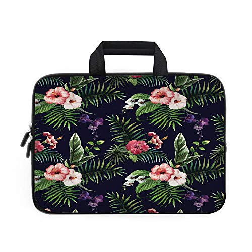 Leaf Laptop Carrying Bag Sleeve,Neoprene Sleeve Case/Romantic Bouquet Corsage Design with Colorful Exotic Blossoms Decorative/for Apple Macbook Air Samsung Google Acer HP DELL Lenovo AsusDark Blue Pin