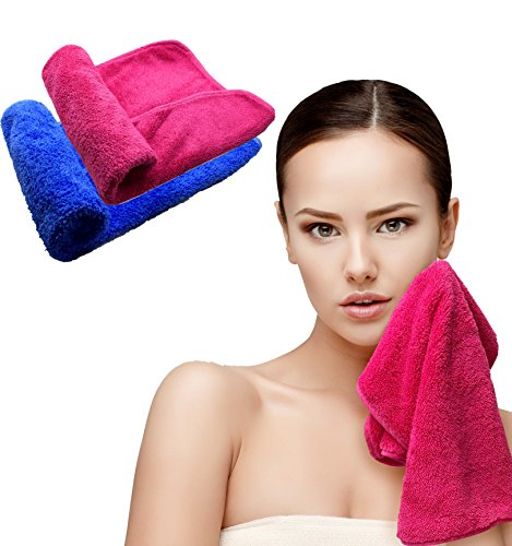 Bath Blossom Face Cloth Towel Makeup Remover Microfiber (2 Pack), Reusable Make-up Facial Cleansing Clothes - Wipes Dirt, Cosmetics