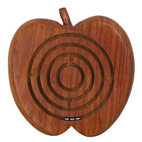Wooden Labyrinth Puzzle Apple Shaped Ball in Maze Holiday Board Game Travel Toy Brain Teaser for Kids Adults