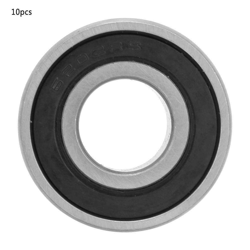 Keenso 10 Piezas de rodamiento de Bolas de Ranura Profunda de 15 mm rodamiento de Bolas de Acero 6202-RS para Cajas de Cambios