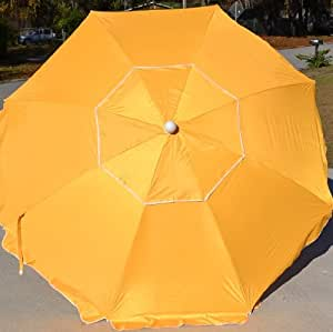 Beach Umbrella Aluminum Pole Fiberglass Ribs SPF Silver Coated Vented Canopy (Yellow)
