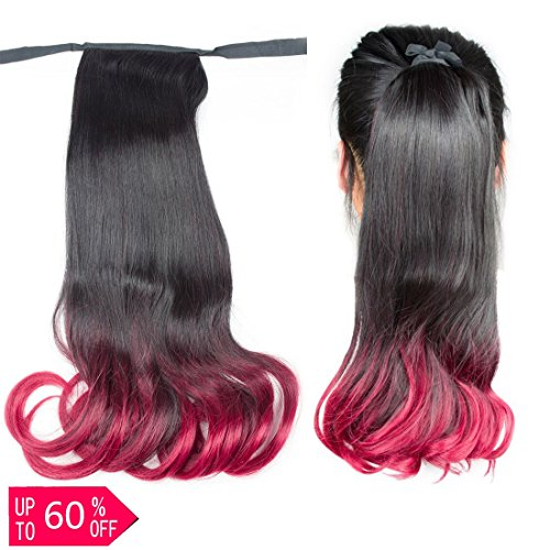 BeautyGrace 1 pack Ombre Long Wavy Curly Ponytail Hair Exten
