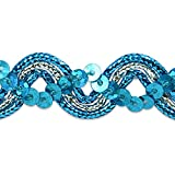 Expo International Karmen Sequin Metallic Braid Trim Embellishment, 20-Yard, Turquoise/Silver