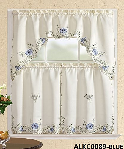 Comfy Deal 3 Pieces White Embroidery Kitchen/Cafe Curtain Ti