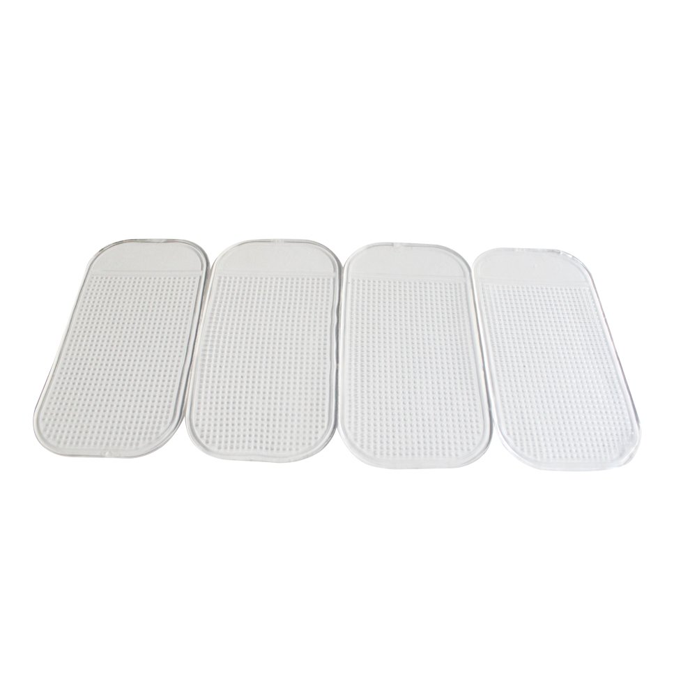 4 Pack Silicone Dash Sticky Pad, Dash Board Mat for Phones, Sunglasses, Keys (Transparent) Kunhe