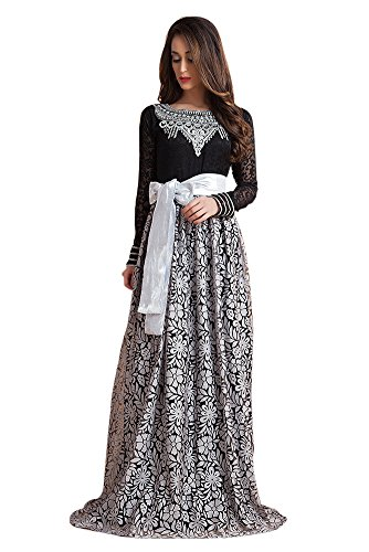 Kolkozy Fashion Women's Arabic Dubai Party Maxi Kaftan Dress For Muslim Grey and Black Size M
