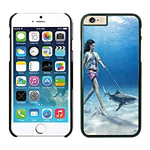 Iphone 6 Case 4.7 Inches, Beauty Girl Walks Shark Funny Soft Silicon Iphone 6 Black Phone Case Cover