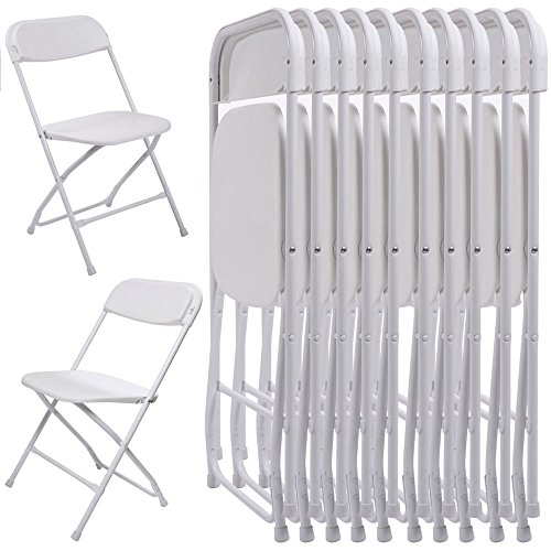 10Pcs Commercial White Plastic Folding Chairs Stackable Wedding Party Chair