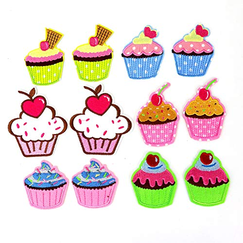 HUELE Set of 12 DIY Embroidery Ice Cream Patches Sticker Cartoon Cupcake Design Badges Iron On Sewing Kids Clothing Hat -