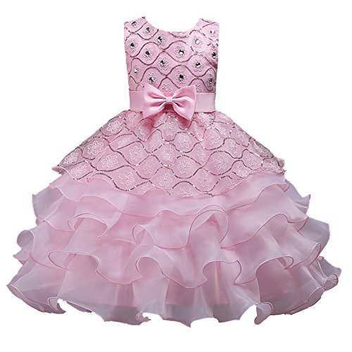 A Line Lace Bridesmaid Tutu Dresses for Girls Pink Tea Length Sleeveless Summer 14 15 16 Years Girl Ruffles Dresses Size 14 Formal High Low Pink 12 15 Special Occasion Wedding Party Pink 170