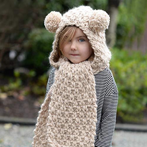 Hood Scarf Beanies Kids - Girls Winter Hats Ear Flaps Knit Cap Snow Neck Warmer by Liny (Image #3)