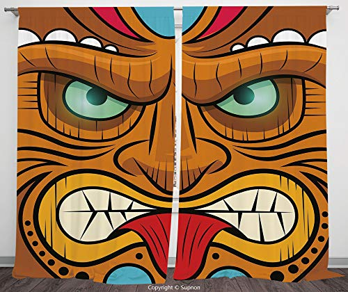 Rod Pocket Curtain Panel Polyester Translucent Curtains for Bedroom Living Room Dorm Kitchen Cafe/2 Curtain Panels/55 x 45 Inch/Tiki Bar Decor,Cartoon Style Angry Looking Tiki Warrior Mask Colorful Ic ()