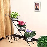 Homebeez 3-Tiered Scroll Classic Plant Stand Decorative Metal Garden Patio Flower Pot Rack Display Shelf Holds 3-Flower Pot with Modern Design (3 tired)