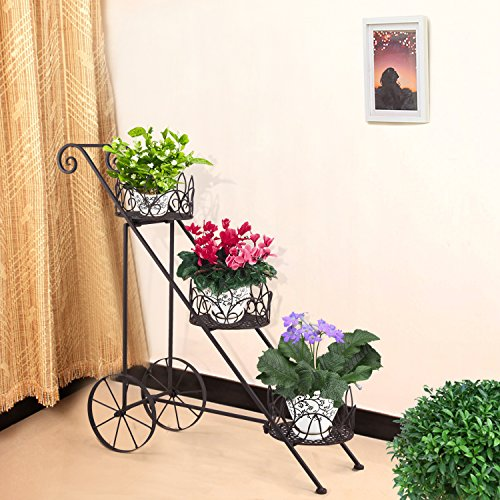 Homebeez 3-Tiered Scroll Classic Plant Stand Decorative Metal Garden Patio Flower Pot Rack Display Shelf Holds 3-Flower Pot with Modern Design (3 (Scroll Design Pot)