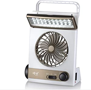 YSYDE Solar Cooling Fan Portable Camping Fan 3 in 1 Multi-Functional with Eye-Care LED Table Lamp Flashlight Solar Panel Adaptor Plug for Home Camping