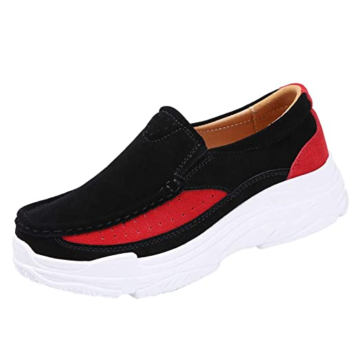 8686192f609 Women Platform Slip On Loafers Lightweight Comfort Suede Moccasins Wide Low  Top Wedge Shoes Ankle Boots