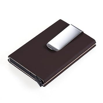 Aibecy Automatisch Popup Visitenkartenetui Mini Geldklammer Geldbörse Portemonee Kreditkartenaufbewahrung Kartenhalter Visitenkartenbox Kartenhülle