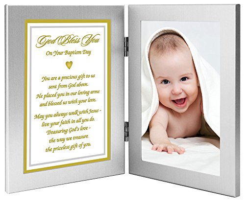 Baby Baptism Gift From Grandparents, Godparents, Etc -''Precious Gift From God Above'' - In Double Frame - Add Photo by Poetry Gifts