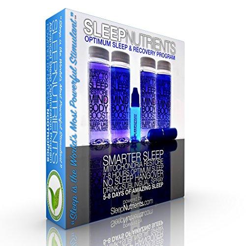 SleepNutrients 4 -Drinks/8-Doses + 20-Sublingual Spray Doses. Get The Deepest, Most Restorative Sleep of Your Life. Celastrus, California Poppy Seed, L-Theanine, Tryptophan, Melatonin, Wild Lettuce.
