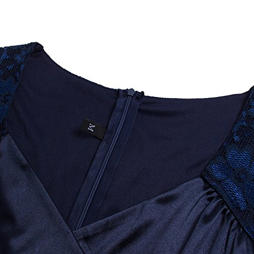 Beauty7 3/4 Arm Herz-Hals Bodycon Lace Kleid Lace Bleistift Knielang Business Kleid Cocktailkleider Partykleid Abendkleid Casual Wear Schrittrock - Farbe: Navy - Größe: EU 34-44 pDFn24zk