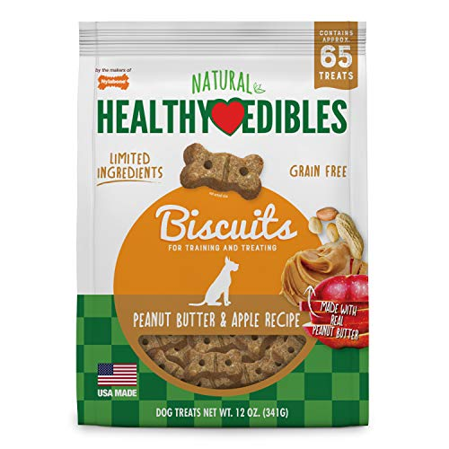 Nylabone Healthy Edibles Biscuits - Grain Free Dog Treats, Peanut Butter & Apple, 65Count (Healthy Edibles Peanut Flavor)