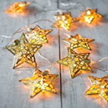 LED Fairy Lights, FLOVEME 2m 20 LEDs Battery Powered Metal Filigree Star LED String Lights for Wedding, Christmas, Party, Home, Garden, Bedroom Decorations Chain Indoor Lighting - Warm White