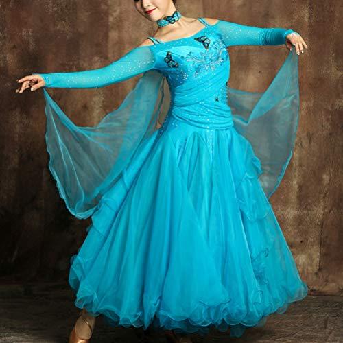 Robe De Longues Jupe Grandes Blue Compétition Pour Moderne Danse À Dresses Balançoires National Performance Femmes Ballroom Manches Standard Costume Wqwlf s UpqSMjzVLG