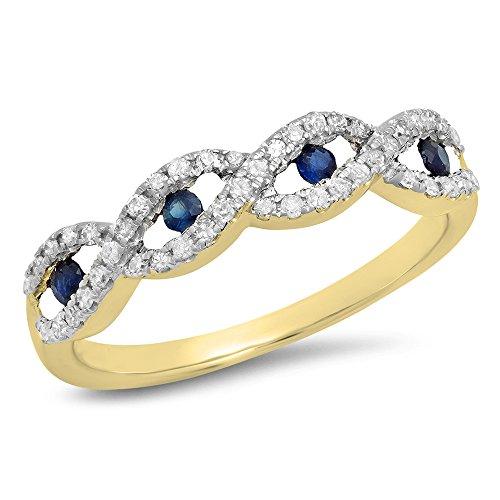 Dazzlingrock Collection 10K Round Blue Sapphire & White Diamond Bridal Stackable Wedding Swirl Band, Yellow Gold, Size 7