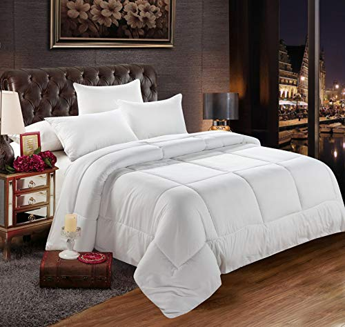 Luxury Homes Goose Down Alternative All-Season White Comforter - Duvet Insert - Hypoallergenic 600 Thread Count 100% Pure Cotton Cover - with 50oz, 750+ Fill Power ()