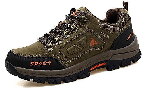 2 Ring Creeper Sneaker (RAINSTAR Men's Nubuck Trekking Hiking Outdoor Training Shoe Walking Sneaker Brown-1816 8)