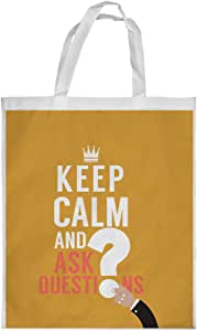 كيس تسوق، keep kalm & ask quistion بطبعة ، مقاس كبير