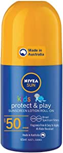 NIVEA SUN Kids Moisturising 4 Hour Water Resistant & Fragrance–Free Roll On Sunscreen Lotion. Made in Australia, SPF50+ 65ml