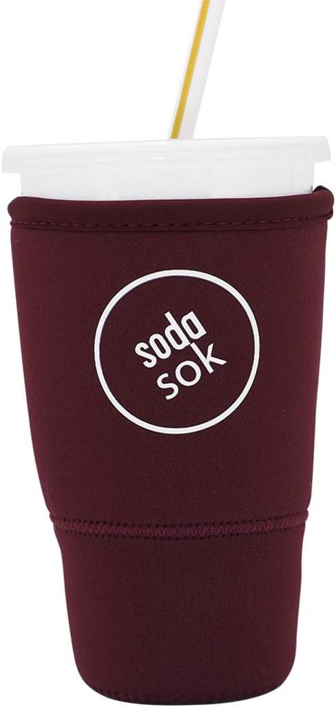 Soda Sok Reusable Insulated Neoprene Drink Sleeve for Iced Fountain Drinks and Soda Cups (Eggplant, 32oz Large)