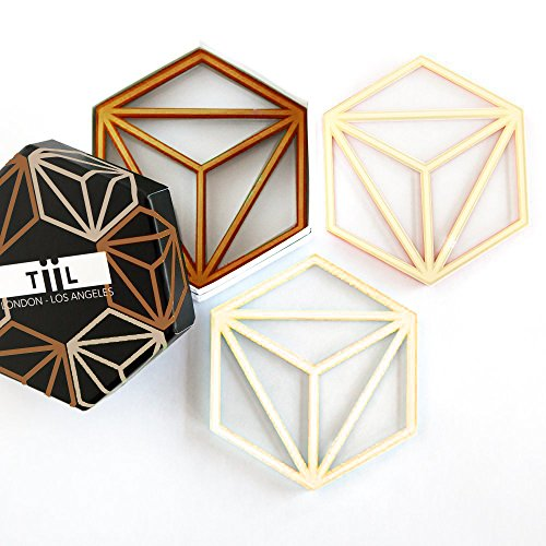 Hexa Drink Coaster Set By TiiL. Set of 6 Modern Coasters for Drinks Plus Gift Box (Copper and Ash) (Sets Drink Coaster Unique)
